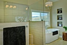 Master Bath Retreat 1 - contemporary - bathroom - boise - Judith Balis Possible solution for partition in Master