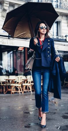 cropped military jacket + feminine silhouette + Annabelle Fleur+ red shirt + braiding on the jacket sleeve + detail in the bag + slim legged jean + navy long trench + fashionable in any weather.  Milford navy suit jacket: Etoile Isabel Marant, Oakland B trench coat: Theory, cropped slim-leg jeans & blouse: Frame, Tango pump Valentino | Dionysus embroidered shoulder bag: Gucci, Rings: Rachel Zoe