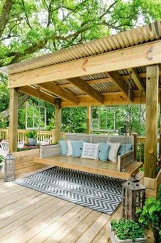 Pergola Designs Ideas And Plans For Small Backyard & Patio - You've likely knew of a trellis or gazebo, but the one concept that defeat simple definition is the pergola. Backyard Gazebo, Backyard Seating, Backyard Pergola, Pergola Ideas, Pergola Kits, Pergola Roof, Cheap Pergola, Garden Gazebo, Pergola Swing