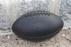 Black Shrunken Bison Football Made By Leather Head Sports