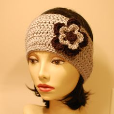 Pattern for Headband Style Earwarmer with Layered Flowers