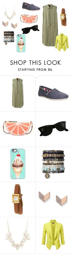 """""""untitled #29"""" by amypena1029 ❤ liked on Polyvore featuring TOMS, Kate Spade, Ray-Ban, Casetify, Gucci, FOSSIL and Charlotte Russe"""
