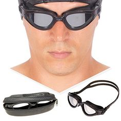 Swim Goggles Polarized Wide View  Exclusive Design Case by AqtivAqua  Unisex Adults Men Women Triathlon Swimming Goggles Black color  Black Case >>> You can get additional details at the image link.Note:It is affiliate link to Amazon.