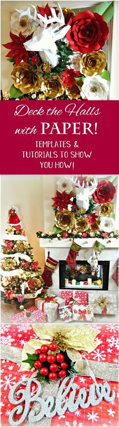 Christmas Paper Decor See our top holiday styled roses and poinsettias below with full video to tutorials and templates! Check o...