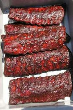 """""""""""Weebie"""""""" Down Home BBQ Ribs 1 5lb. rack St. Louis cut Pork Spare Ribs (I used Kroger brand) 2 T. Louisiana Hot Sauce 1 small can Tomato Sauce Meat Cure for Pork: 1/2 C. Water or special tasty liquid (Beer, Juice, Broth ect) 1/4 C. Morton's Tenderquick (It's in a blue bag, no substitute) 1 T. Sea Salt or Seasoned Salt (optional..for thick meaty racks) 1 T. Ground Sarawack or any good quality fresh ground black pepper 1 T. Mixed dried Italian Herbs 1 t. Figaro smoke flavoring (optional for…"""