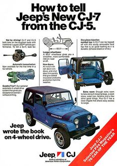 1976 New Jeep CJ-7 vs CJ-5 - Promotional Advertising Poster