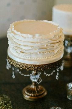 Opulent Treasures Chandelier Ball Base! French Wedding Ideas | simple cake ideas | ruffled frosting | gold chandelier cake stand by Opulent Treasures