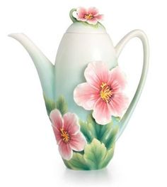 FRANZ COLLECTION FINE SCULPTURED PORCELAIN JOYFUL GERANIUM TEAPOT, NEW