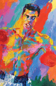 Muhammad Ali, Athlete of the Century 2001 Double Signed by LeRoy Neiman - Serigraph on Paper, With Remarque