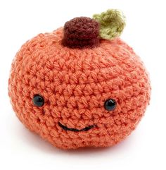 Happy fall, y'all! Cheerful little Happy Pumpkin FREE pattern now available at acmoore.com #crochet #pattern - Lion Brand yarn - Vanna's Choice - amigurumi