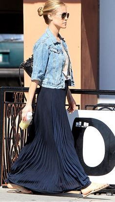 Black maxi skirt with a basic t-shirt and denim jacket.