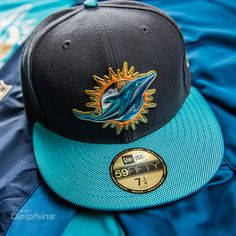 Men's New Era Graphite/Aqua Miami Dolphins Gold Collection On Field 59FIFTY Fitted Hat
