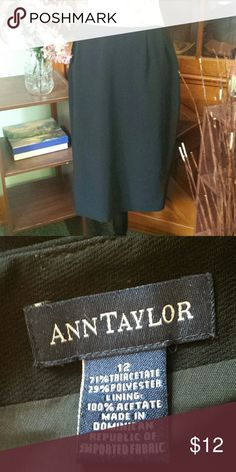 Ann Taylor simple black skirt Fully lined. Great staple piece. Back zipper knee length. Sz 12. No stretch. Ann Taylor Skirts