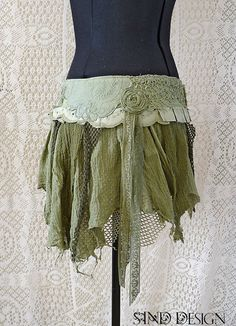 BOHO TATTERED SKIRT lace romantic fairy gipsy jungle pixie