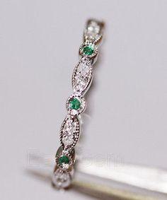 Antique Art Deco Emerald Diamond14K White Gold Full Eternity Band Wedding Ring
