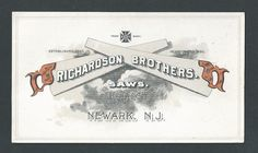 Richardson Brothers Saws Newark NJ Trade Card | eBay