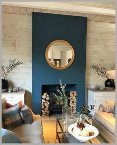 Ideas Home Living Room Diy Fireplaces Navy Living Rooms, New Living Room, Home And Living, Living Room Decor, Blue Feature Wall Living Room, Modern Living, Living Room Fire Place Ideas, Kitchen Feature Wall, Living Room Sectional