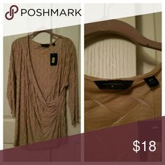 ☇Host Pick☇Investments 2X drape crossed top NWT 3/4 sleeve beige with white design Investments  Tops Blouses