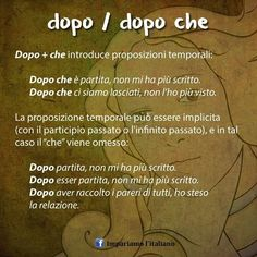 Uso di DOPO e DOPO CHE #learnitalian #learningitalian #studyitalian…