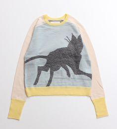 【KARINE】黒猫インターシャ走る猫ショートプルオーバー