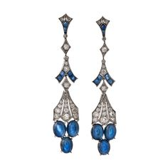 Gorgeous Cabochon Ceylon Sapphire and Diamond Drop Earrings | From a unique collection of vintage drop earrings at http://www.1stdibs.com/jewelry/earrings/drop-earrings/