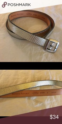 💥SALE Banana Rep. Silver Snakeskin Leather Belt Banana Republic Italian leather belt in silver snakeskin. Silver buckle. Size Small. Mint condition! Banana Republic Accessories Belts