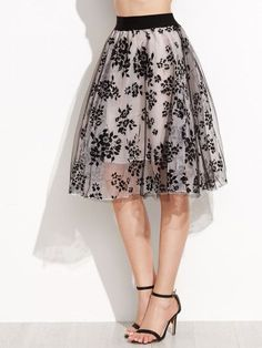 Floral Print Sheer Organza Contrast Elastic Waist Skirt - #bllusademujer #mujer #blusa #Blouse