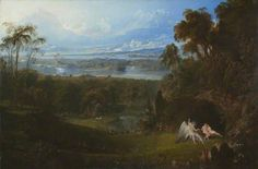 John Martin - Adam and Eve Entertaining the Angel Raphael, Oil on canvas, 131 x cm, Collection: Fife Council English Romantic, Oil Painting Gallery, Epic Of Gilgamesh, Creation Myth, Professional Painters, John Martin, Oil Painting Reproductions, Adam And Eve, Art Uk