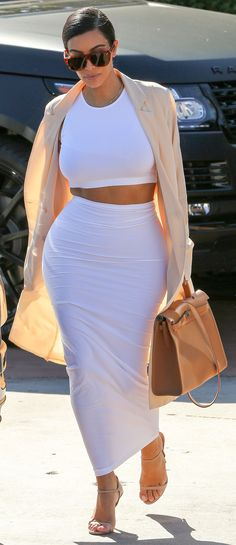 Kim Kardashian white crop top