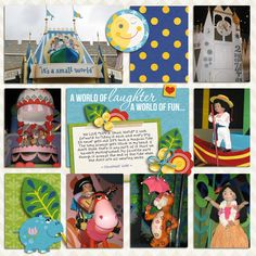 """It's a Small World Digital Project Life and Scrapbook page created by yzerbear19 featuring """"Project Mouse (Fantasy)"""" by Sahlin Studio"""