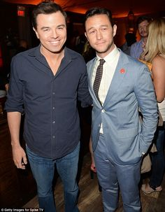 Guy talk: Seth MacFarlane and actor Joseph Gordon-Levitt got a chance to catch up backstage