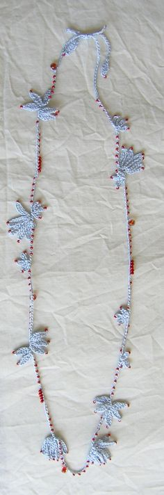 pale blue long crochet necklace...adorable!