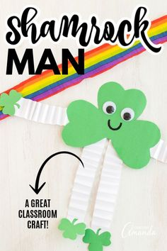 This shamrock man is easy to make using construction paper and our free pattern! This makes a great group project for a classroom or daycare as well. St Patricks Day Crafts For Kids, Rainy Day Crafts, St Patrick's Day Crafts, Holiday Crafts, Craft Projects For Kids, Easy Crafts For Kids, Project Ideas, Diy Projects, Craft Ideas