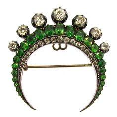 Victorian Demantoid Garnet Diamond Crescent Brooch. Victorian Dementoid Garnet and Diamond Crescent Brooch Extremely Rare Sizeable Demantoid Garnets Removable Old Mine Cut Diamond Crown English Circa 1880