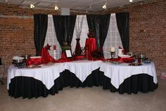 Only with purple...love this look. Wedding, Reception, Red, Black, Tables, Food