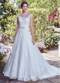 Marvelous Tulle Scoop Neckline A-Line Wedding Dress With Lace Appliques & Belt