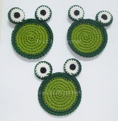 Set of 6 Green Frogs Crochet Coasters - Finished Beverage Drink Kitchen Decor Houseware Animal Collection.