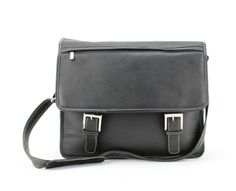 Leather Impressions Leather Traditional Flap Over Briefcase. Two Snap Closures. Adjustable strap