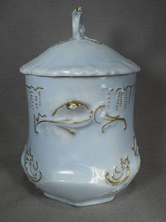 Lovely Light Blue Porcelain Condensed Milk Holder from 1902 from grannymares on…