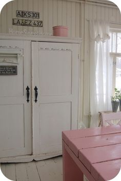 Toves Sammensurium: Heaven found....  re-do armoire in kitchen with paint, dark hardware and stencilled words