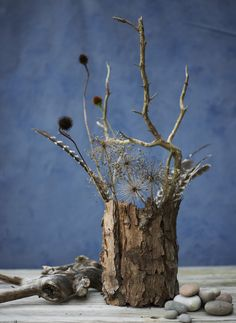 Decorate with autumn flowers - Sticks, seed heads in a bark covered vase enhances the lowly.
