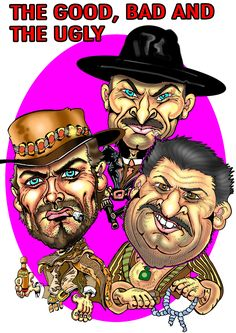 The Good bad and the ugly. Clint Eastwood, Cleef van Cleef, Elis Vallace karikatyyri jorma lampela