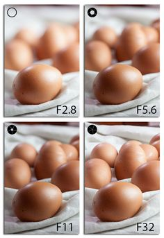 Photos taken with different apertures