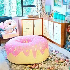 She wants this Giant Donut, Candy House, Pink Frosting, Bean Bags, Cute Food, Vintage Home Decor, Regrets, Get One, Kitsch