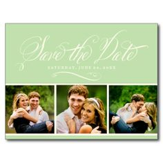Mint Photo Save the Date | Calligraphy Script Postcard