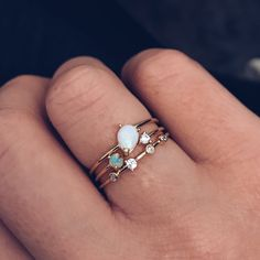 Double Opal Stacking Ring Set - local eclectic   - 10