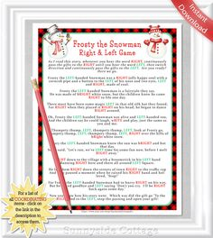 Right and Left Frosty the Snowman game with buffalo checks, White Elephant Game, Winter Baby or Bridal shower game, Red Plaid Lumberjack, - Trend Home Entertainment 2020 Snowman Games, Cute Snowman, Christmas Party Games, Christmas Activities, Xmas Games, Xmas Party, Holiday Fun, Holiday Ideas, Holiday Decor
