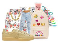 """""""Back To School: first day"""" by kaay-kay ❤ liked on Polyvore featuring Sharpie, Aéropostale, PB 0110 and adidas Originals"""