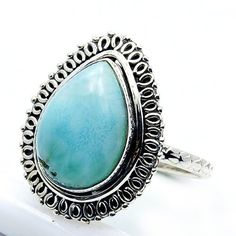 Sterling Silver Dominican Larimar Ring, Size 6