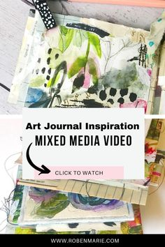 Get inspired by this art journal inspiration mixed media video tutorial. Combining collage papers, stitching and more, you will be inspired to create your own collage art project in your journal.  Prepare to get inspired and transform your own artwork. | collage art mixed media abstract | art journal inspiration ideas creative | #mixedmediaart #artjournals #robenmarie Art Journal Pages, Art Pages, Art Journaling, Collage Art Mixed Media, Art Journal Techniques, Handmade Journals, Process Art, Art Journal Inspiration, Tag Art